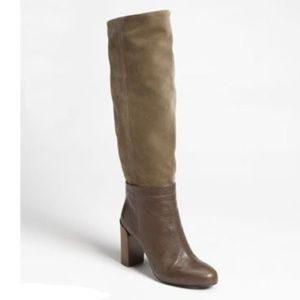 NWD Vince Olive Suede Brown Leather Knee High Boot